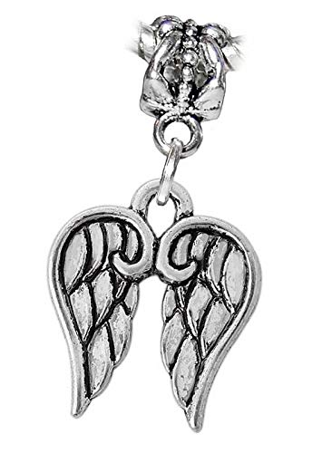 Angel Wings Heaven Protection Remembrance Charm for European Slide Bracelets Vintage Crafting Pendant Jewelry Making Supplies - DIY for Necklace Bracelet Accessories by CharmingSS ()