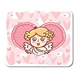 "Nakamela Mouse Pads Cute Cupid Baby Angel Character with Wings Bow and Arrow on Hearts Pink Romantic Love in Cartoon Doodle Mouse mats 9.5"" x 7.9"" Mouse pad Suitable for Notebook Desktop Computers"