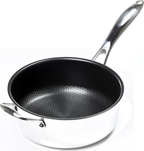 Frieling USA Black Cube Hybrid Stainless/Nonstick Cookware Deep Skillet, 9 1/2-Inch, 4.0 Quart
