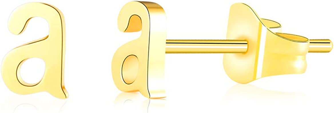 Details about  /Alphabet A-Z Letter Initial Simulat Round Stud Earrings In 14k Yellow Gold Over