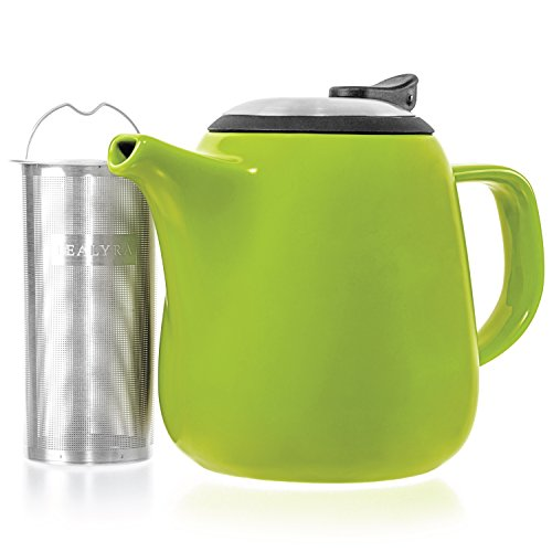 Lid Teapot Green (Tealyra - Daze Ceramic Teapot in Lime - 27-ounce (2-3 cups) - Small Stylish Ceramic Teapot with Stainless Steel Lid and Extra-Fine Infuser To Brew Loose Leaf Tea)