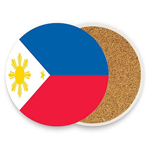 Philippines Flag Ceramic Coaster for Drinks, 1 Piece Round Coaster Protection from Drink Rings, Perfect Housewarming Gifts (Land And Water Forms In The Philippines)