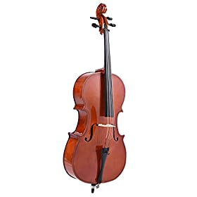 ammoon 1/4 Solid Wood Cello Gloss Finish Basswood Face Board with Bow Rosin Carrying Bag for Students Music Lovers 1