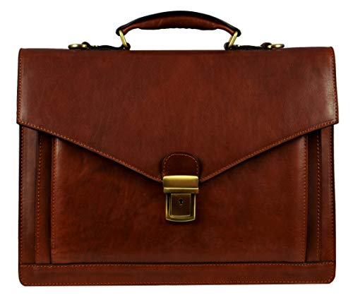- Leather Mens Briefcase, Laptop Bag Medium Brown - Time Resistance