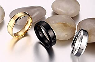 VNOX 6MM Stainless Steel Moon Phase Moon Cycle Rings for Women Girl,Black//Silver//Gold Plated,Size 6-9