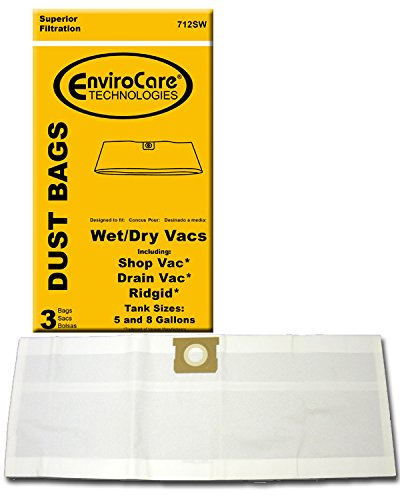 EnviroCare Replacement Vacuum Bags for 5 and 8 Gallon Wet Dry Vacuums Designed to Fit Shop Vac, Drain Vac and Rigid Machines 3 pack