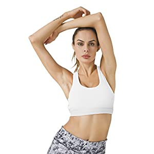 Queenie Ke Women's Medium Support Strappy Back Energy Sport Bra Cotton Feel Size XL Color Angle White