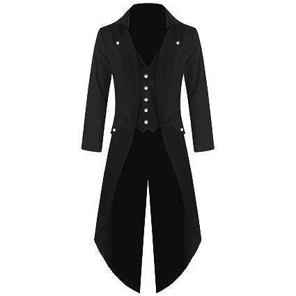 zarupeng✦‿✦Abrigo de Manga Larga para Hombre Gótico Moda Steampunk Vintage Esmoquin Vestido de Banquete para Hombre