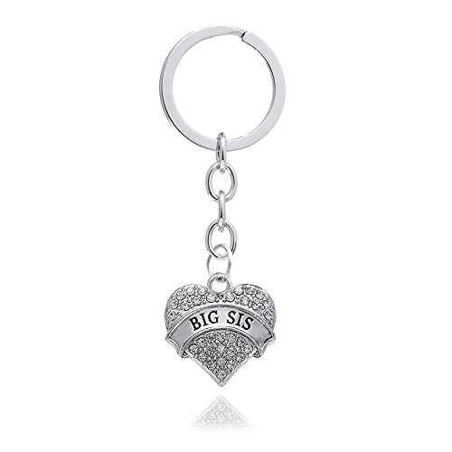 4pcs Women Girl Gift Big Middle Little Baby Sister Love Heart Pendant Key Chain Ring Set Family Jewelry (4pcs White B/M/L/B Sister Key Chains) Photo #4