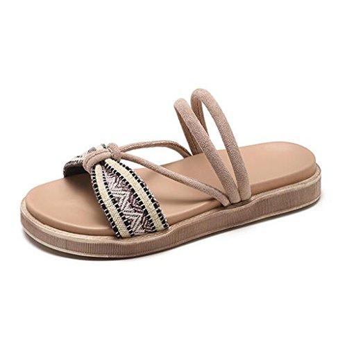 Sandales Plage Chaussures Bas Plein 5 cn37Kaki uk4 Pantoufles Air TongscouleurBlackTaille Mode D'été 5 Cool Fond Antidérapant Eu37 Xy® Plat Femme En 5qRAL34j