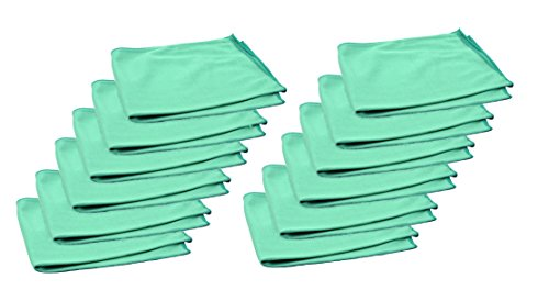 Real Clean 16x16 Premium Microfiber Green Window Glass Cleaning Towel Cloths for Home Auto Office Electronics Streak Free and No Lint Left Behind (12 Pack)
