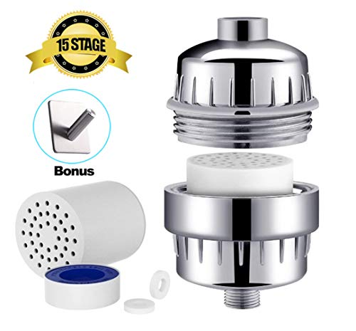 Helet Shower Head Filters,15 Stage Shower Filter with Victaminc for Hard Water -High Output 2Pcs Filter Cartridge Removes Chlorine & Sediments - Reduces Flouride & Chloramine - Fits Any Shower Head