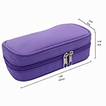 Ecloud Shop® Popular Essential Oil Travel Carrying Case with Strong Zipper Holds 10 Bottles-Size 5ML, 10ML, 15ML or 10 ML(Purple)
