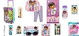 Ait Corporation Paw Patrol Doc McStuffins Going to Grandmas Rolling Suitcase Pajamas Size 3-4 Years + Bath Accessories