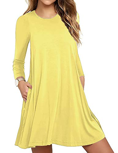 Uniboutique Women 's Long Sleeve Casual Loose Swing T-Shirt Dress with Pockets Yellow XXL for $<!--$18.99-->