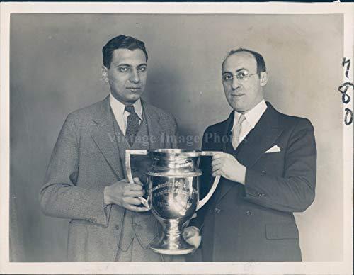 Vintage Photos 1934 Photo Trophy Cup Ausonia Council Debate Boston MA Marlbore Win Sport 7x9