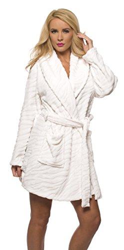 Velvet Kitten Luxurious Women's Long Sleeve Ultra-Soft Plush Polyester Robe 3360 (Medium/Large, White) - White Soft Plush