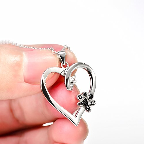 925 Sterling Silver Forever Love Heart Puppy Paw Pendant Necklace, Rolo Chain 18'' by SILVER MOUNTAIN (Image #3)