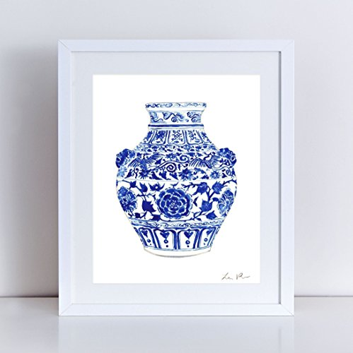 - China Ginger Jar Art Vase 4 Blue and White Porcelain Chinoiserie Art Chinese Print Asian Decor Preppy Art Print Gift for Her Pretty Art Canvas Art Print Watercolor Painting Unframed Wall Decor