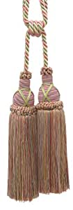 """Beautiful Dusty Rose, Pastel Green, Lt Gold Curtain & Drapery Double Tassel Tieback / 10"""" tassel, 30 1/2"""" Spread (embrace), 3/8"""" Cord, Imperial II Collection Style# TBIC-2 Color: ROSE GARDEN - 3549"""