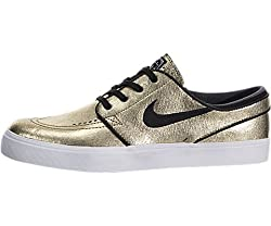 Nike Sb Zoom Stefan Janoski Leather Metallic Goldwhitegum Light Brownblack Skate Shoes-men 11.5, Women 13