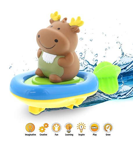 DolliBu Boat Racer Buddy, Fun Educational Bath Toy Finger Puppet Pull and Go Water Racing Pal for Shower Pool Bathtub Swim Hard Surfaces for Baby Toddler and Boy - 6 Inch - 3 in 1 Game (Moose)