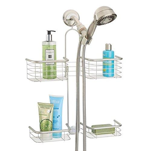 mDesign Bathroom Metal Hanging Hose Hand Held Shower Caddy Organizer for Shampoo, Conditioner, Soap - 4 Shelf, Satin by mDesign