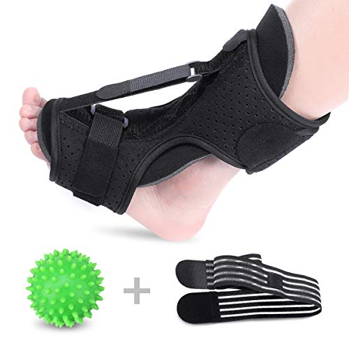 SGODDE Plantar Fasciitis Night Splint Foot Drop Orthotic Brace, Adjustable Night Splints for Plantar Fasciitis, Arch Foot Pain, Achilles Tendonitis Support with Hard Spiky Massage Ball