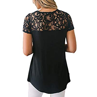Spadehill Women Elegant Floral Lace Summer Short Sleeve Blouse at Women's Clothing store