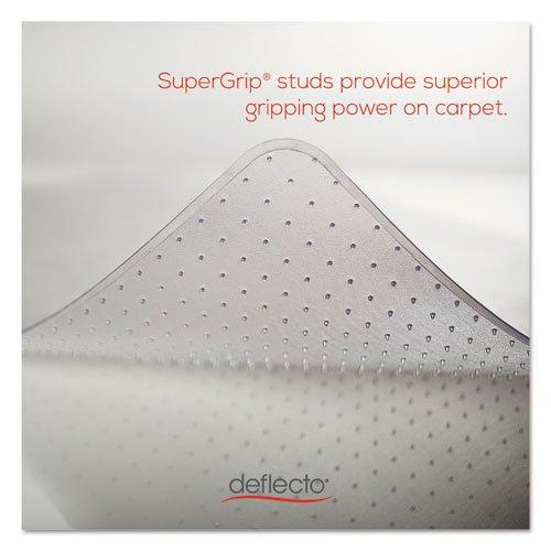 deflecto CM14233 Beveled Clear 45x53 w/Lip Medium Pile Carpet SuperMat Frequent Use Chair Mat