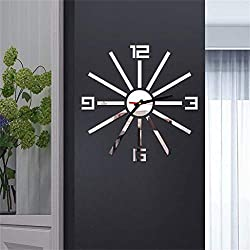WOCACHI Wall Stickers Decals 3D DIY Roman Numbers Acrylic Mirror Wall Sticker Clock Home Decor Mural Decals Art Mural Wallpaper Peel & Stick Removable Room Decoration Nursery Decor