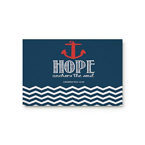 "Family Decor Doormat for Entrance Way Indoor/Bathroom/Front Door Area Floor Mat Rugs Rubber Non Slip Waterproof Absorb Kitchen Runner Carpet, Hope Anchor The Soul Ripple Blue/Red (30""x18"")"