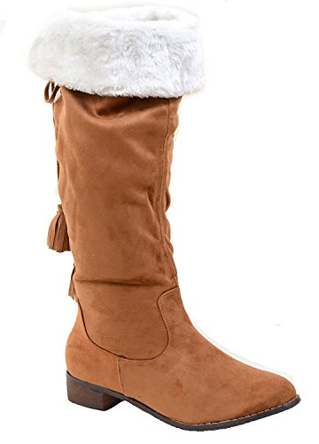 1 Boots Lace camel Vegan Over Fur Back Knee Pirate Fold Suede FawqzTxgn