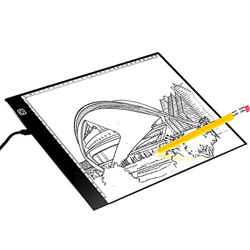 (A4 Tracing Light Box Portable Ultra Thin LED Light Pad Dimmable Brightness Light Table for Drawing Sketching Designing X-Ray Viewing)