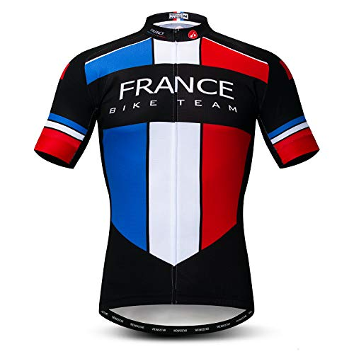 Weimomonkey Men s Cycling Jerseys Tops Biking Shirts Short Sleeve Full  Zipper Bike Clothing France Multi L 485dc9832