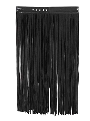 Women's Faux Leather Fringe Tassel Skirt Belt Adjustable Halloween Costume -
