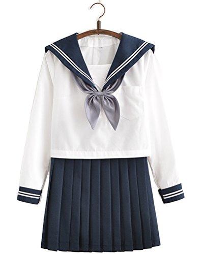 Japanese School Uniform Adult Women, Halloween Sailor Cosplay Costume Outfit Long Sleeve (Sailor Fuku Costume)