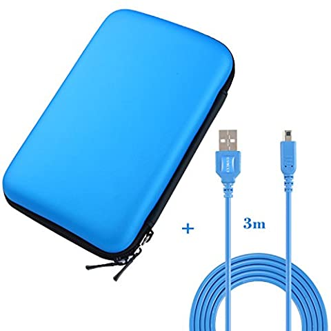Exlene Nintendo 2DS XL, Protective Travel Storage Cover pouch + 3M usb charging cable for Nintendo 2ds XL,LL new 3DS XL,3DS LL, Hard EVA Carrying Case Cover Bag with 8 Game Cartridge Holders (3ds Xl Charging Case)