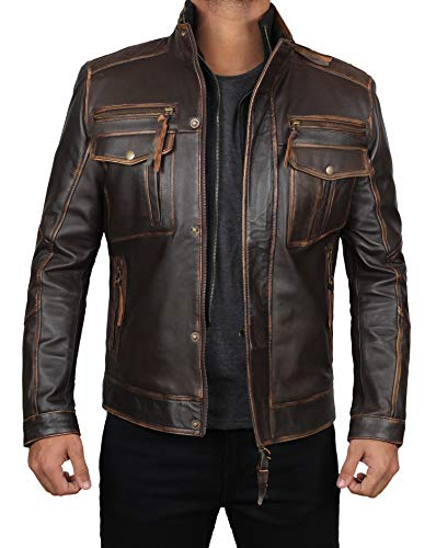 Men Leather Jacket - Genuine Biker Lambskin Distress Brown Jacket Men | Moffit Ruboff XL