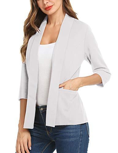 (Concep Women 3/4 Sleeve Blazers Open Front Cardigan Jacket Work Office Jesery Knit Lightweight Blazer (White, X-Large) )
