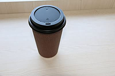 Disposable Double Walled Hot Cups with Lids - No Sleeves needed Premium 16 oz Insulated Ripple Wall Hot Coffee Tea Chocolate Drinks Perfect Travel To Go Paper Cup and lid Brown Geometric