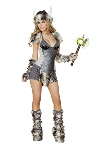 J. Valentine Women's Snow Viking Costume Hat Tie-Back Top Waist Cincher Skirt Legwarmers and Fingerless Gloves, Grey, (Waist Tie Back Top)