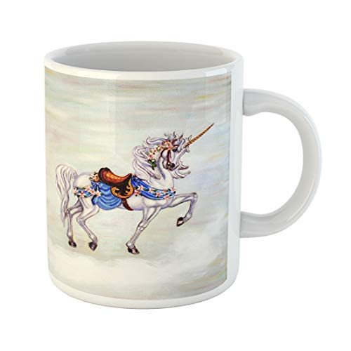 Semtomn Funny Coffee Mug Colorful Oil Original Painting of Unicorn on Cloud Carousel 11 Oz Ceramic Coffee Mugs Tea Cup Best Gift Or - Prancing Carousel