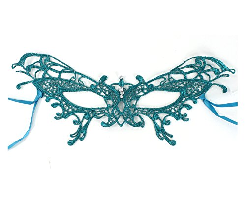 Embroidered Soft Lace Masquerade Mask with Crystals (Turquoise)