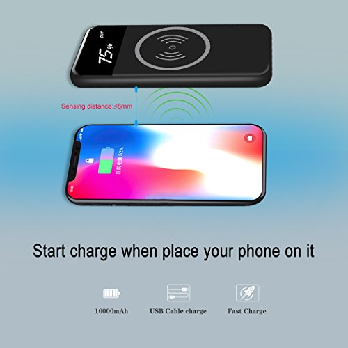 handheld Charger strength Bank Qi 10000mAh mobile strength with LED Battery Reminder efficiency Suit For Iphone X iPhone 8 8 plus Samsung Galaxy S8 S8 Note 8 and moreBlack External Battery Packs