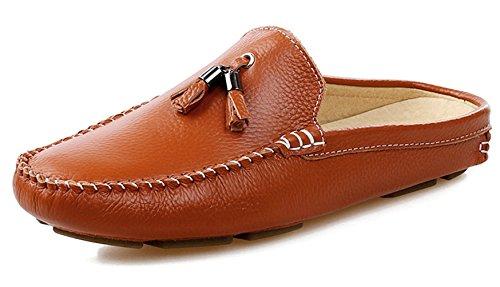 Crocodile Tassel - SANTIMON Men's Tassel Crocodile Leather Slippers Slip-on Loafters Shoes Casual Loafers Brown 6.5 D(M) US