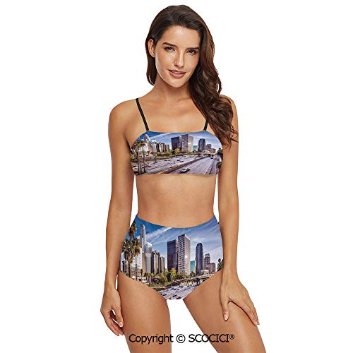 SCOCICI Bikini Swimsuit Swimwear Downtown Cityscape of Los Angeles California U
