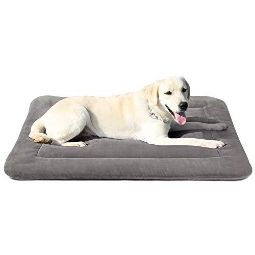 Dog Bed Crate Pad Mat 35″/42″/47″ Washable Pet Bed Cat Beds Soft Dog Mattress- Anti-Slip Kennel Pad Luxury Color (42IN, Clay Gray)