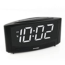 Reacher Digital Alarm Clock with 6 Large Electric LED Display Simple Operation and Easy Snooze Outlet Powered for Bedrooms Bedside- Black