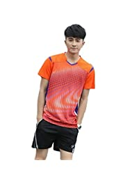 Lanbaosi Men's Sports Jerseys T-Shirts and Shorts Two Pics Set for Volleyball Tennis